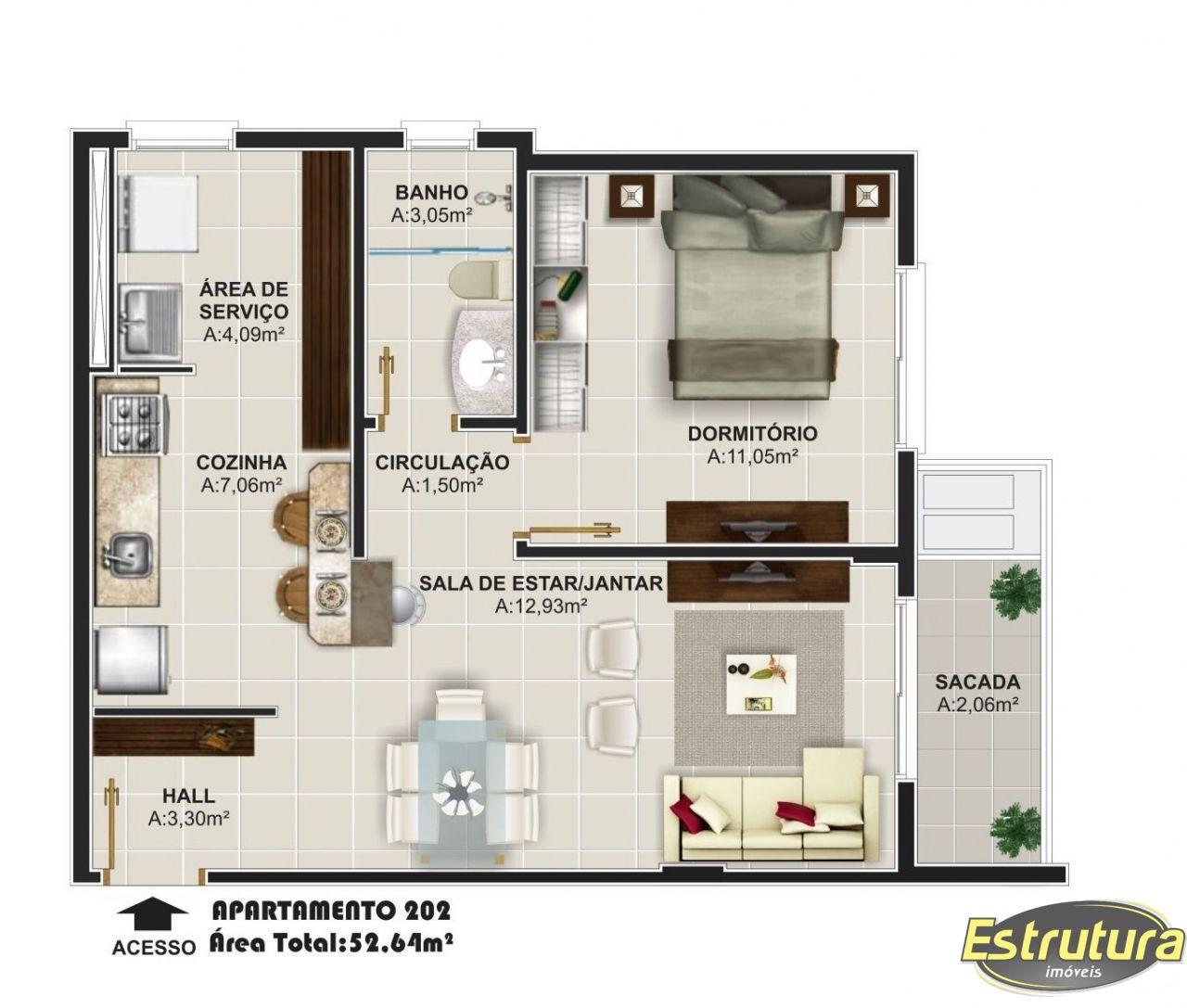 Apartamento com 1 Dormitórios à venda, 52 m² por R$ 297.087,00