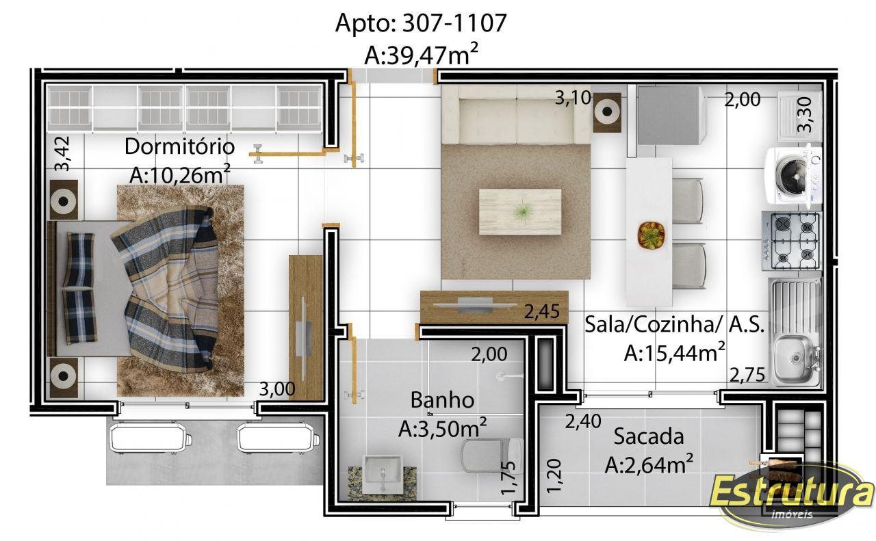 Apartamento com 1 Dormitórios à venda, 40 m² por R$ 190.000,00