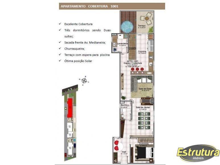 Cobertura com 3 Dormitórios à venda, 150 m² por R$ 930.000,00