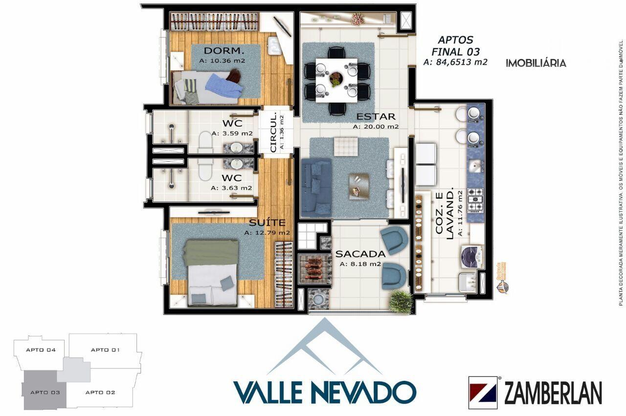 Apartamento com 2 Dormitórios à venda, 85 m² por R$ 469.000,00
