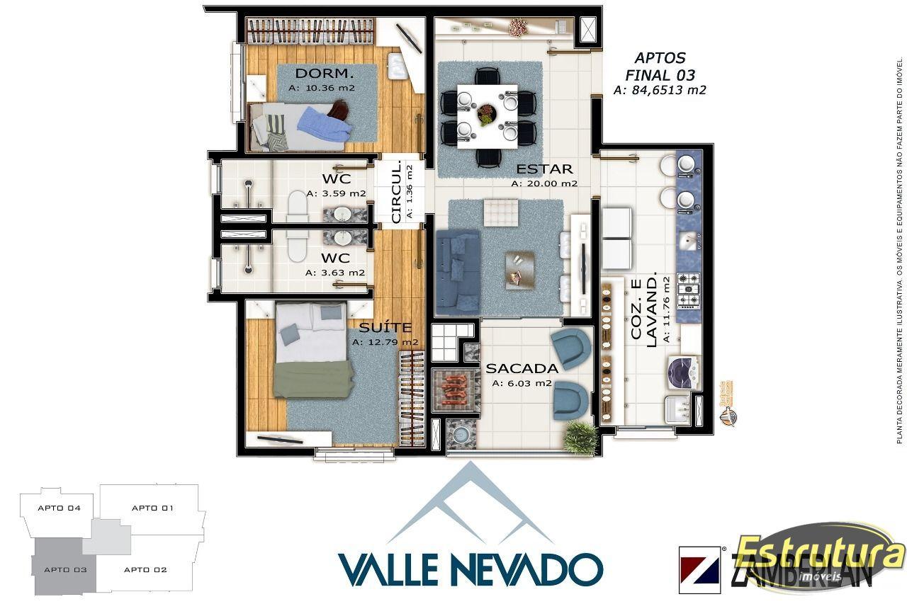 Apartamento com 2 Dormitórios à venda, 85 m² por R$ 451.180,00