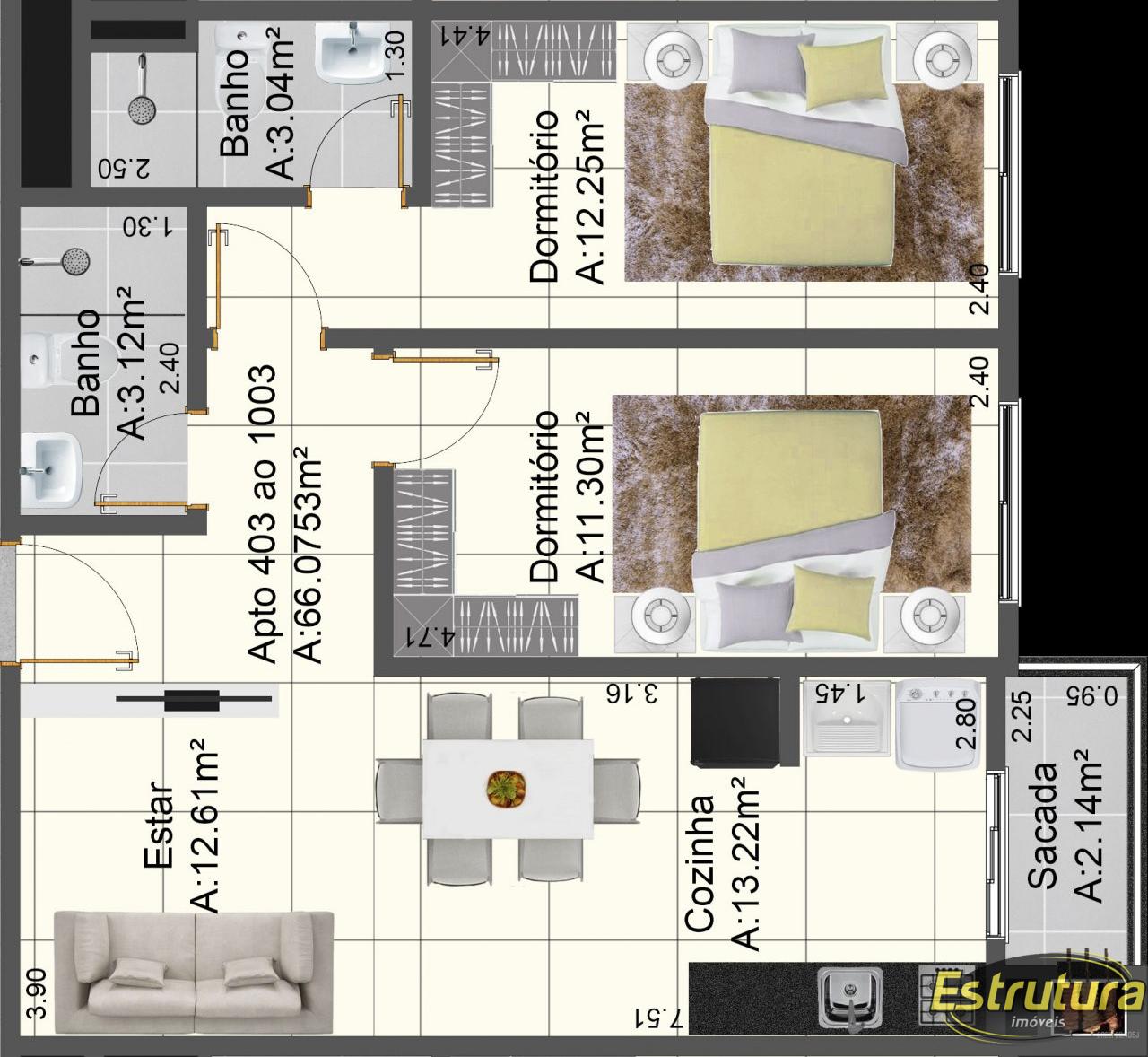 Apartamento com 2 Dormitórios à venda, 67 m² por R$ 498.000,00