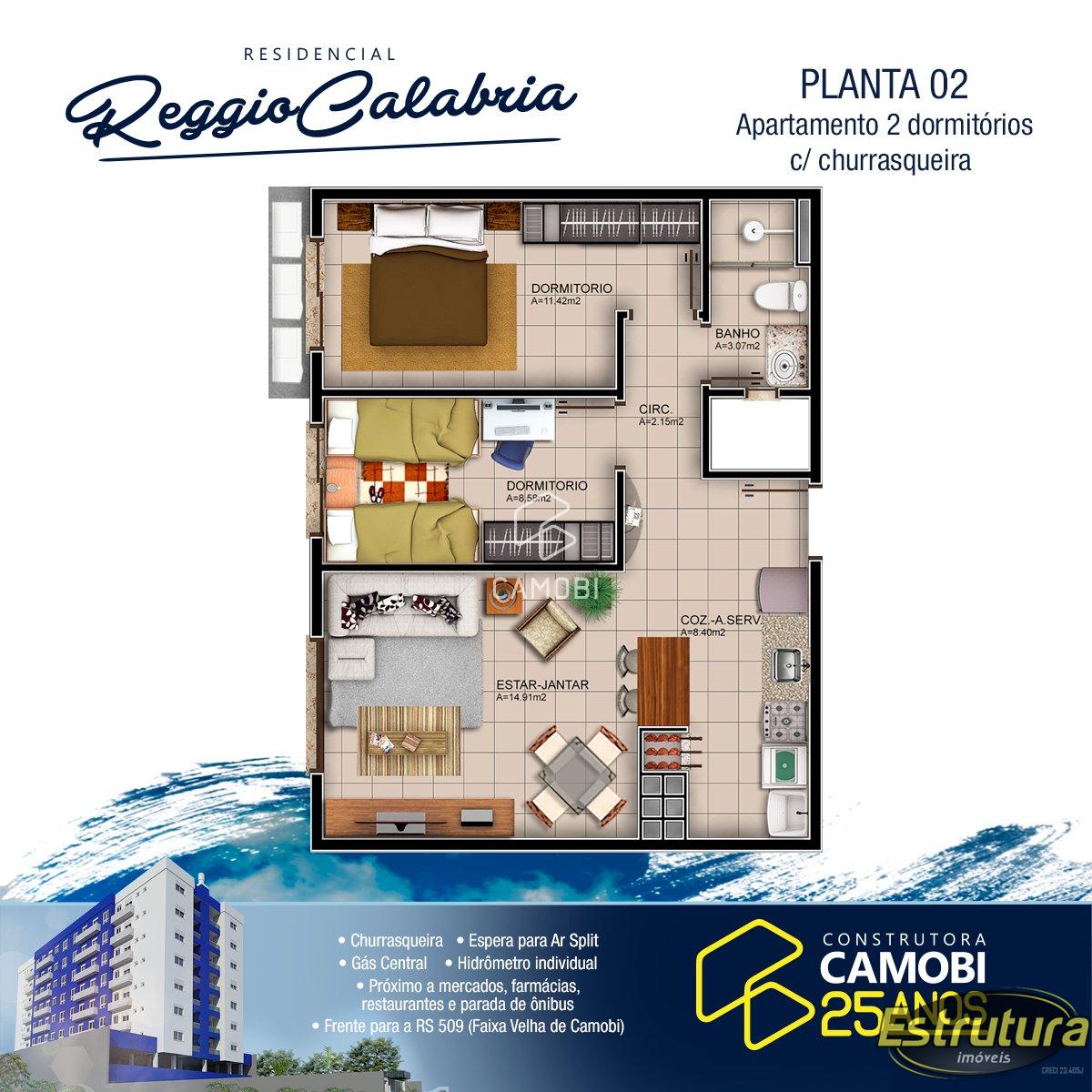 Apartamento com 2 Dormitórios à venda, 66 m² por R$ 389.000,00