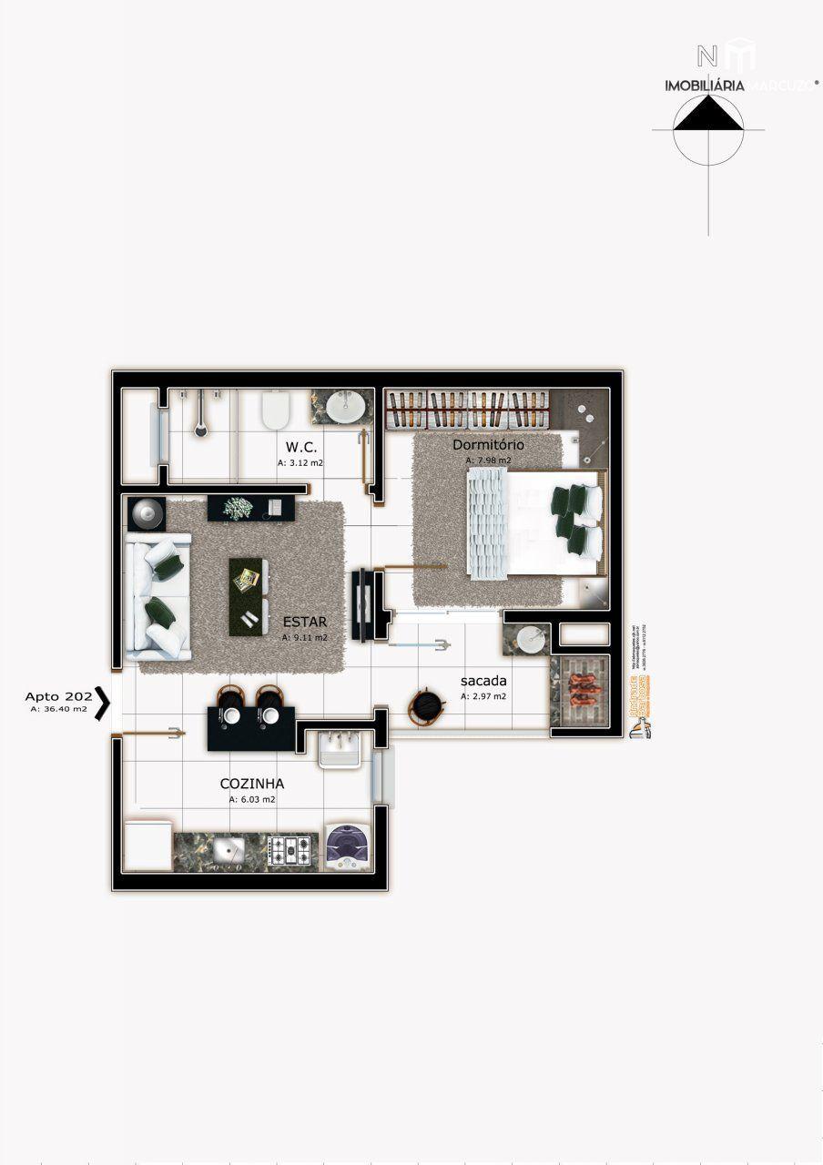 Apartamento com 1 Dormitórios à venda, 36 m² por R$ 119.000,00