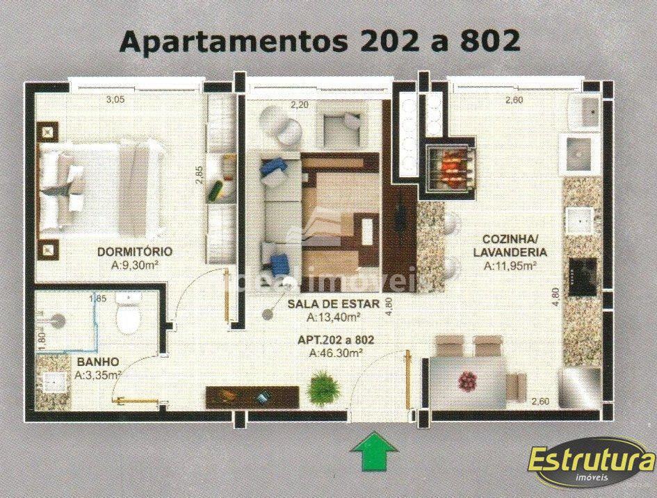 Apartamento com 1 Dormitórios à venda, 46 m² por R$ 224.304,00