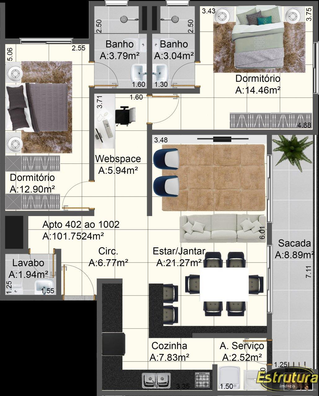 Apartamento com 2 Dormitórios à venda, 102 m² por R$ 588.000,00