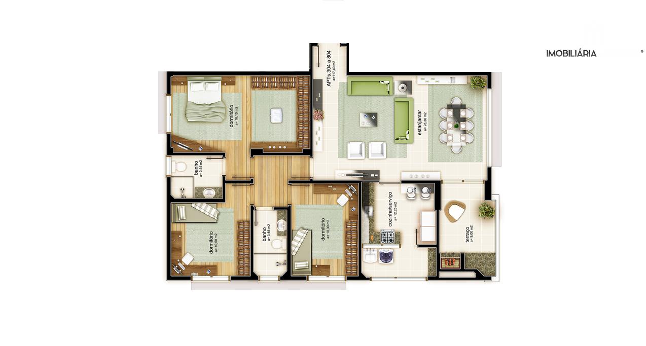 Apartamento com 3 Dormitórios à venda, 121 m² por R$ 396.355,00