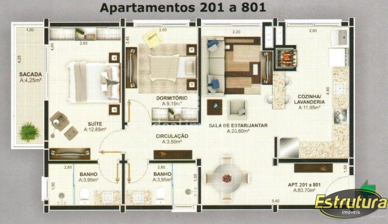 Apartamento com 2 Dormitórios à venda, 82 m² por R$ 463.264,00