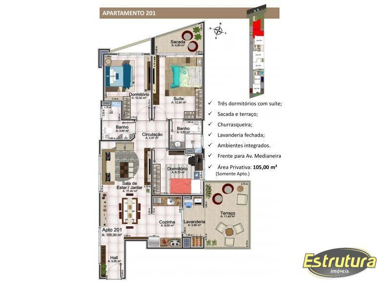 Apartamento com 3 Dormitórios à venda, 105 m² por R$ 560.000,00