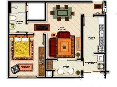 Apartamento com 1 Dormitórios à venda, 50 m² por R$ 153.000,00