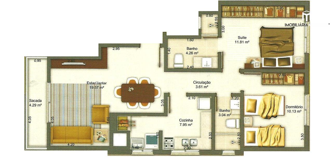 Apartamento com 2 Dormitórios à venda, 76 m² por R$ 355.000,00