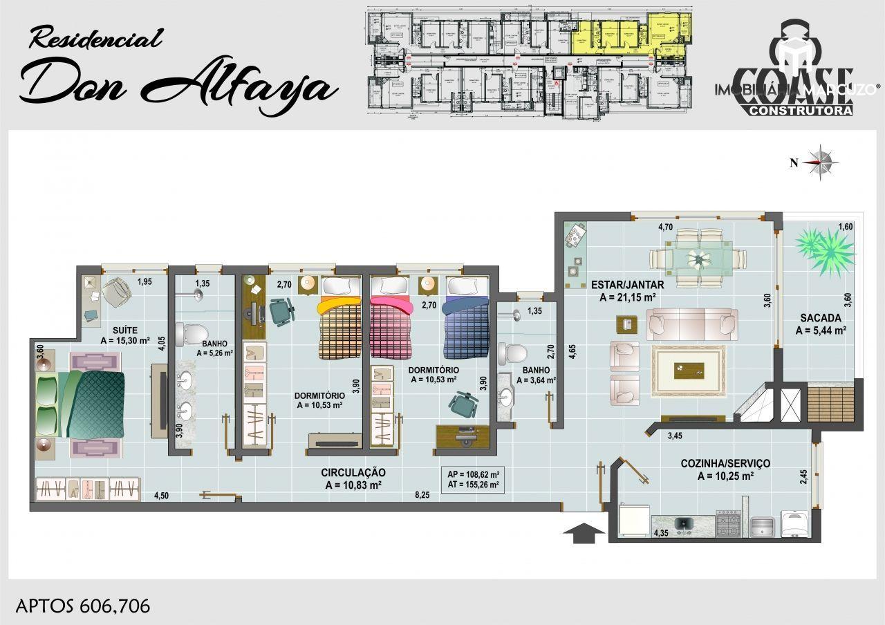 Apartamento com 3 Dormitórios à venda, 109 m² por R$ 459.000,00