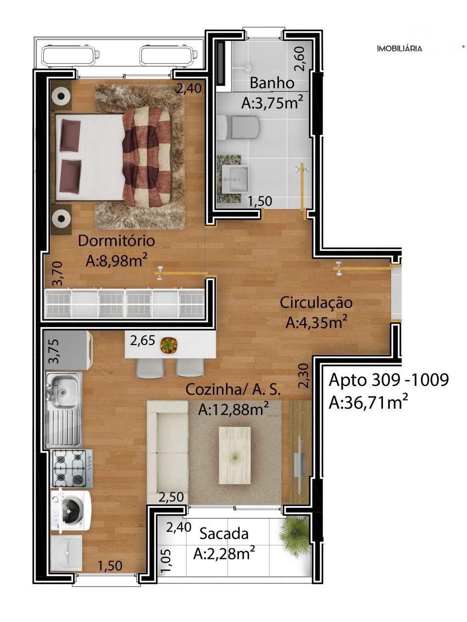 Apartamento com 1 Dormitórios à venda, 37 m² por R$ 190.000,00