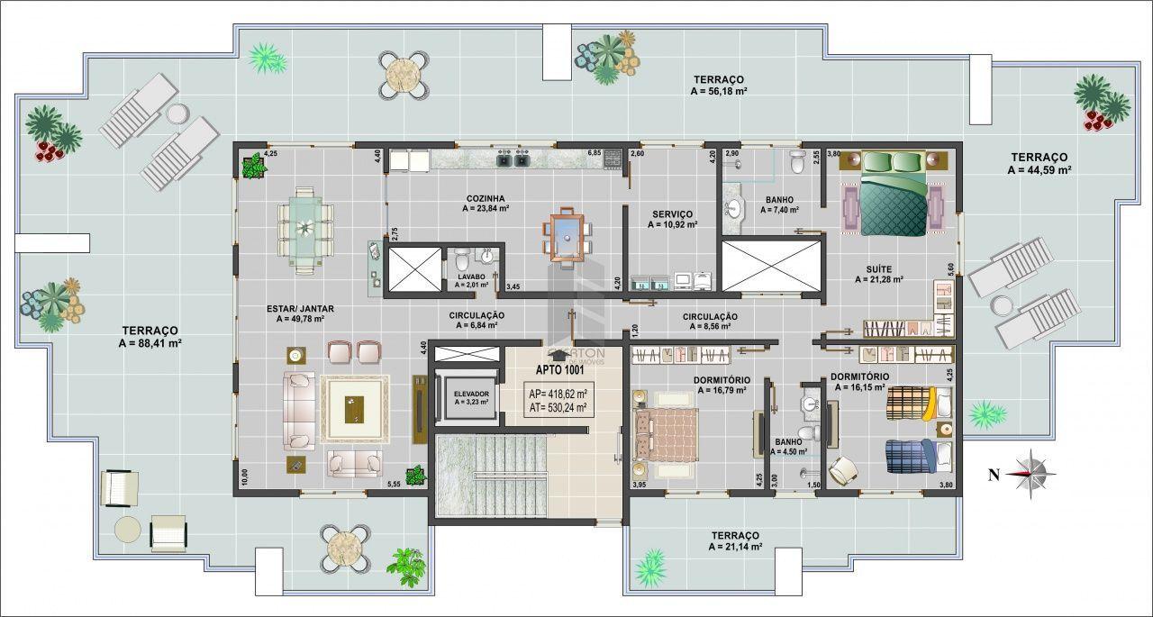 Apartamento com 3 Dormitórios à venda, 419 m² por R$ 2.898.798,00
