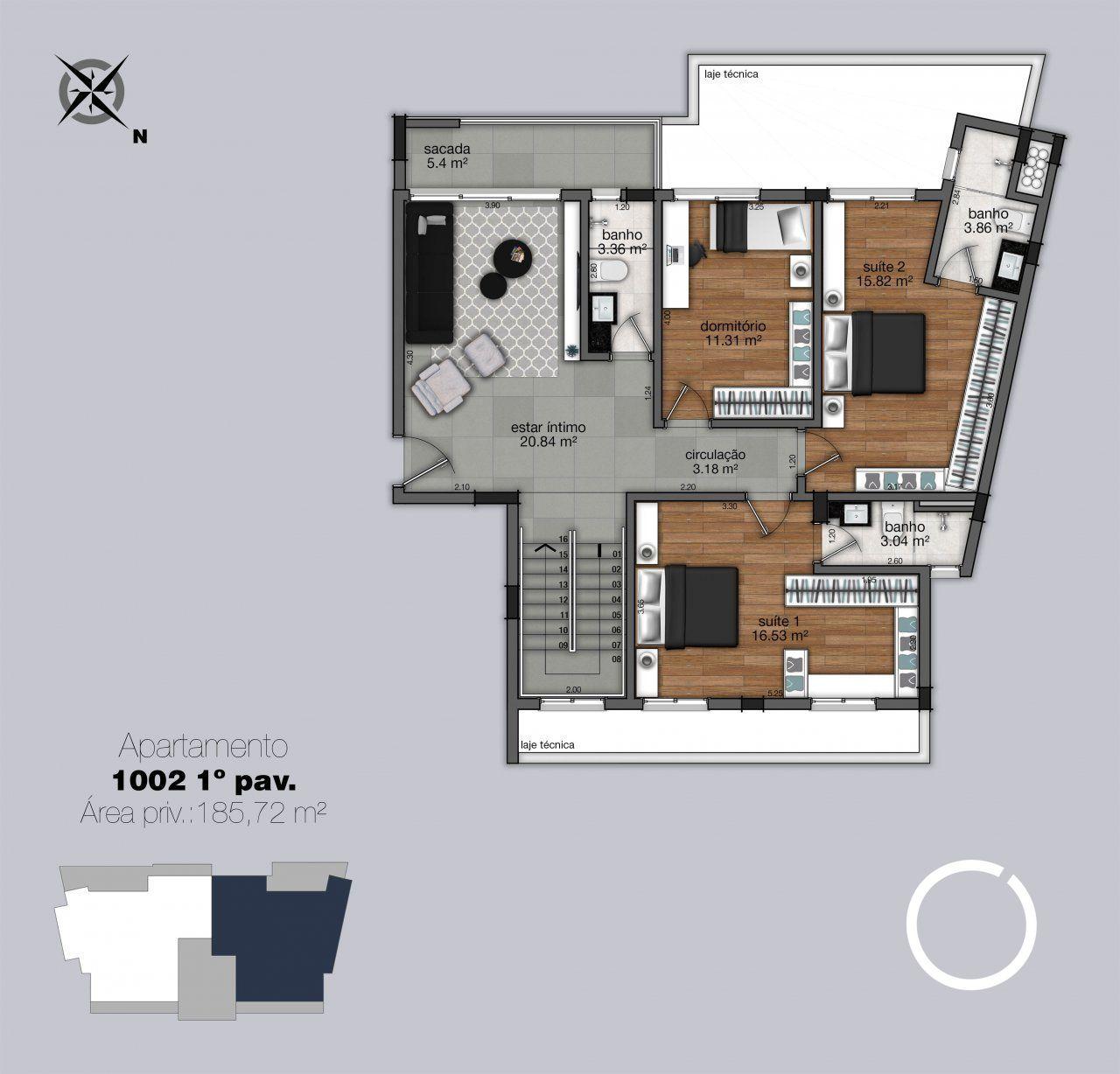 Cobertura 1002 - 1º pavimento