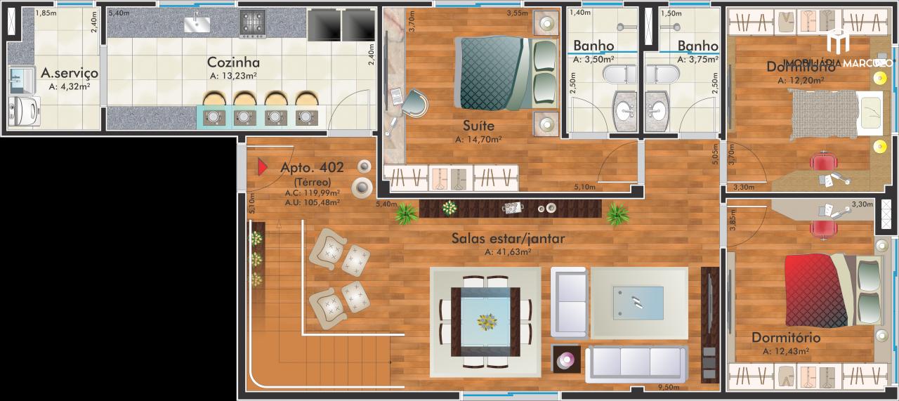 Cobertura com 4 Dormitórios à venda, 360 m² por R$ 1.180.000,00