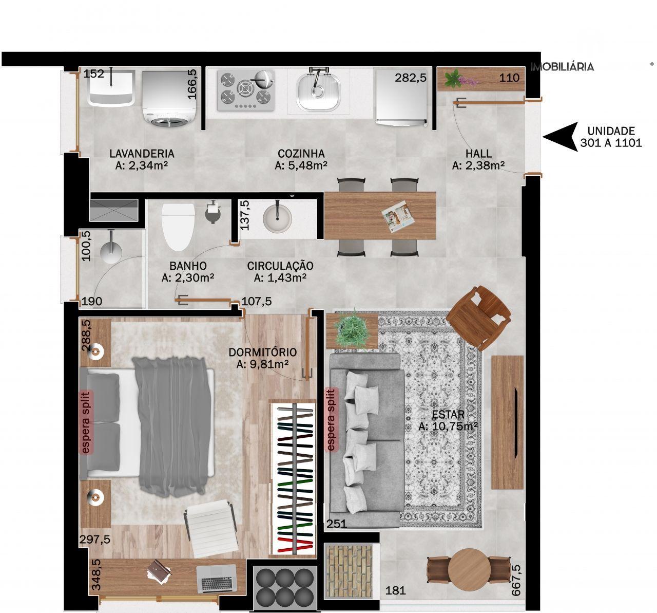 Apartamento com 1 Dormitórios à venda, 42 m² por R$ 255.729,00