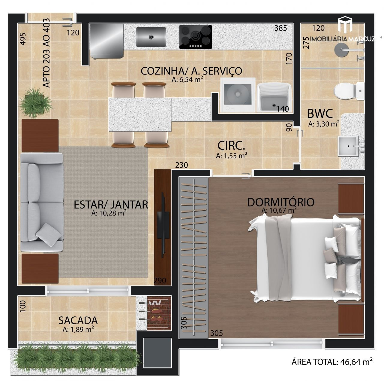 Apartamento com 1 Dormitórios à venda, 47 m² por R$ 175.000,00