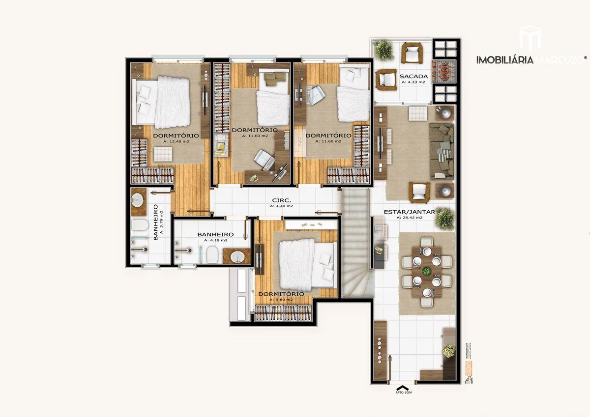 Apartamento com 3 Dormitórios à venda, 118 m² por R$ 497.518,00