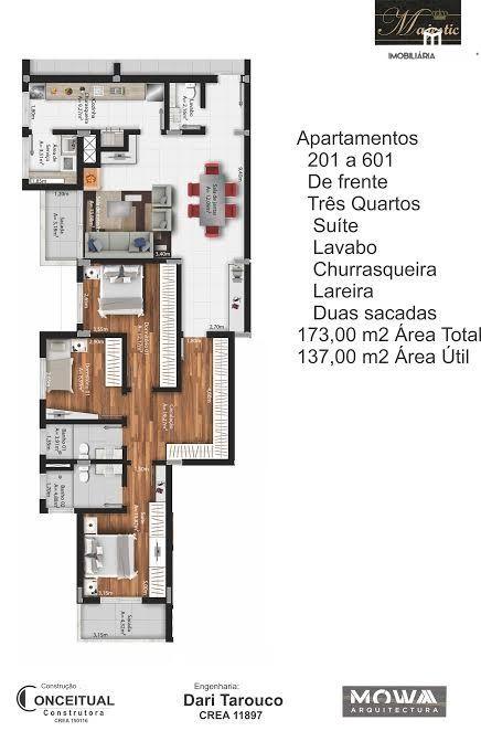 Apartamento com 3 Dormitórios à venda, 137 m² por R$ 600.000,00