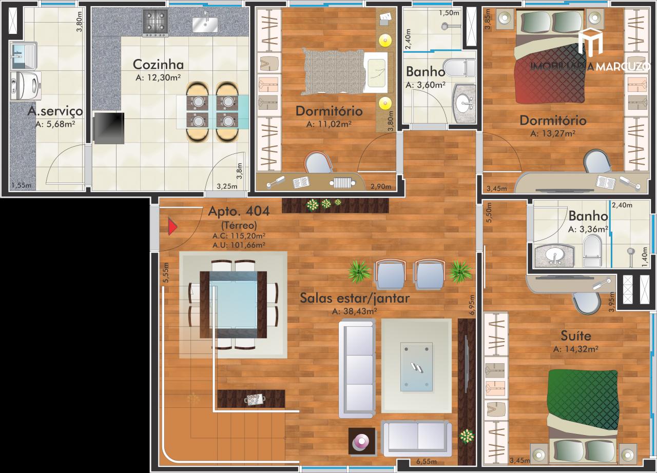 Cobertura com 4 Dormitórios à venda, 265 m² por R$ 1.380.000,00