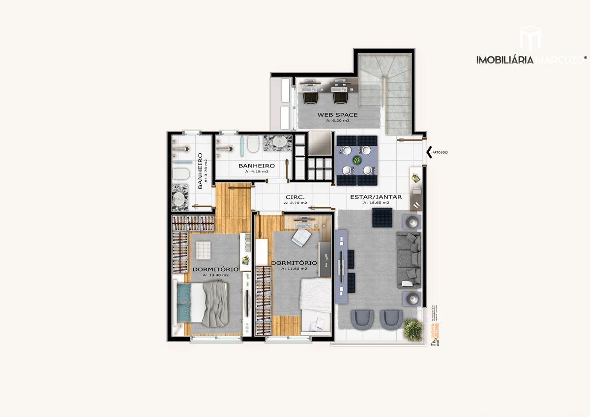Apartamento com 2 Dormitórios à venda, 155 m² por R$ 826.235,00