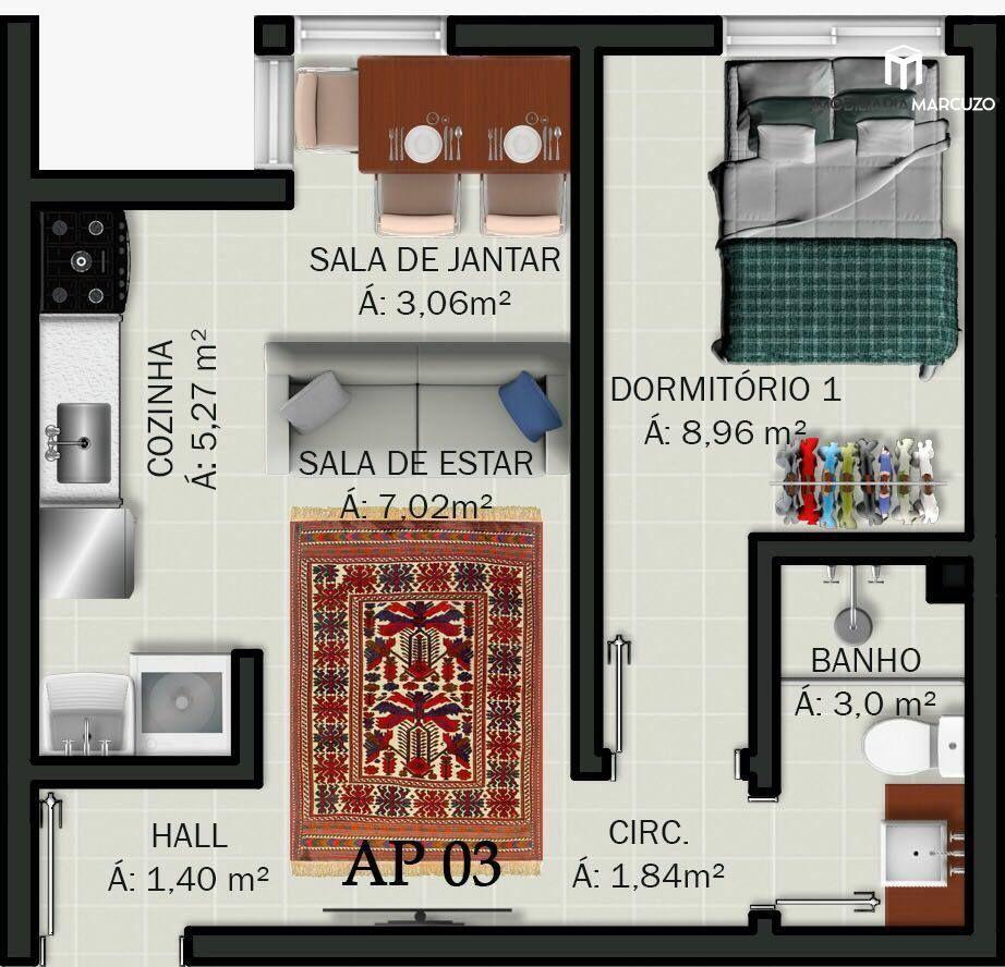 Apartamento com 1 Dormitórios à venda, 36 m² por R$ 125.000,00