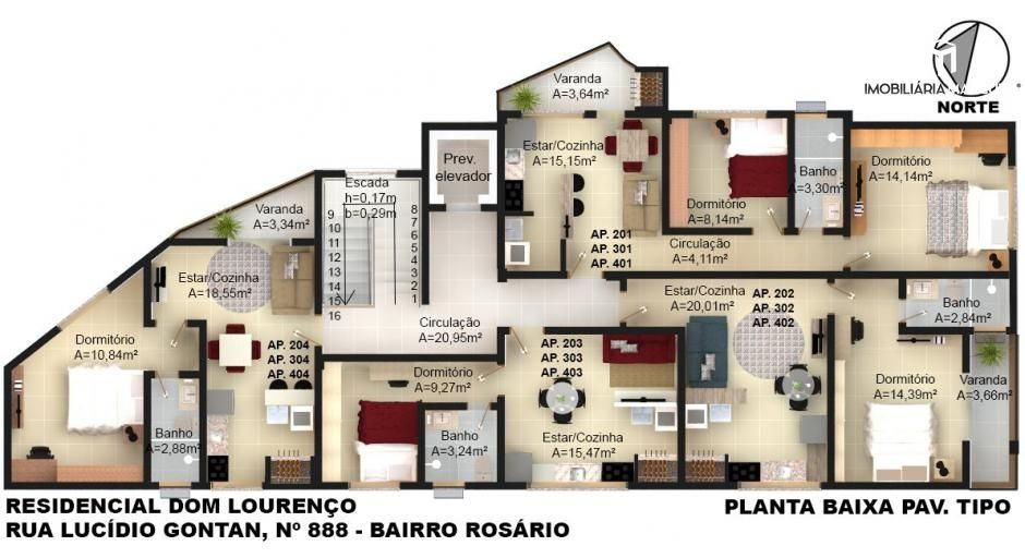 Apartamento com 1 Dormitórios à venda, 34 m² por R$ 175.000,00
