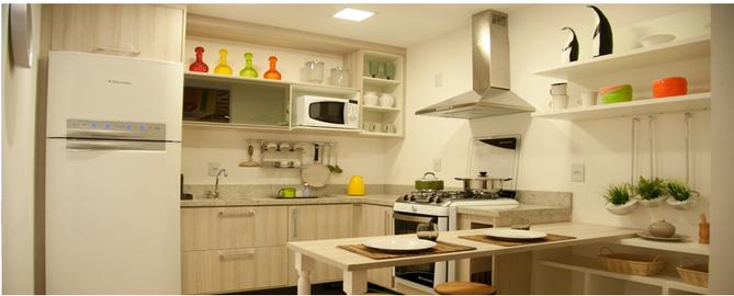 Cozinhas pequenas e decorações gigantes